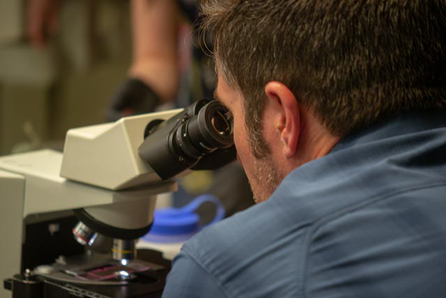 CSATS STEM Education Outreach Specialist, Gabe Knowles, participating in the APPL-Red Pollen Microscopy workshop.