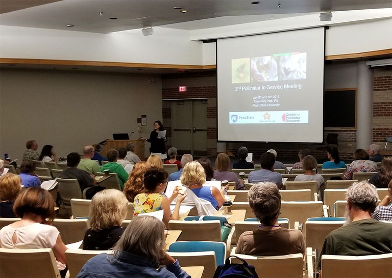 Margarita López-Uribe welcomes 100+ attendees to the 2nd Pollinator In-service Meeting at Penn State on July 9th, 2019. Photo by Shelby Kilpatrick.